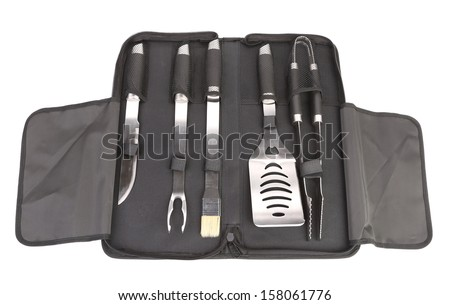 Set of tools for bbq in black bag. Isolated on a white background - stock photo
