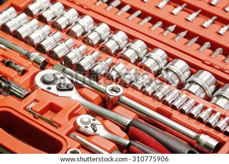 set of tools in the box - stock photo