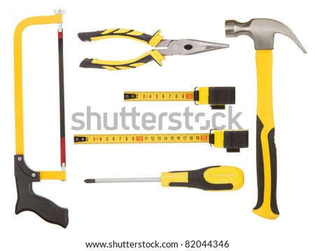 set of tools isolated on white background - stock photo