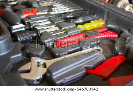 Set of tools,tool box for construction,electronic,building,carpentry.