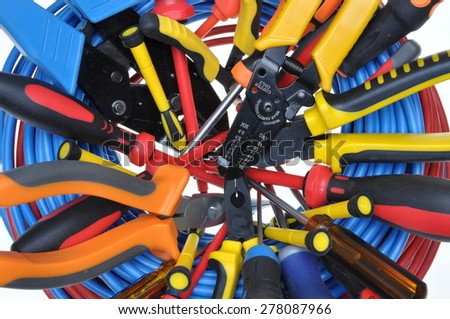 Set of tools used in electrical installations - stock photo