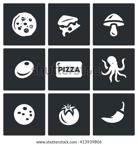 Set of Toppings Pizza Icons. Cheese, Mushroom, Olive, Seafood, Ham, Vegetable, Spice. Preparation of food order and delivery to the consumer. - stock photo