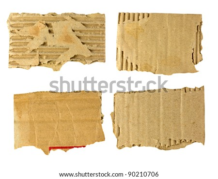 set of torn cardboard - stock photo