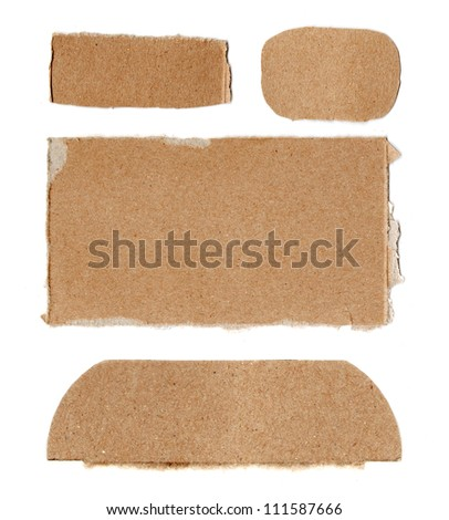 Set of torn cardboard pieces - stock photo