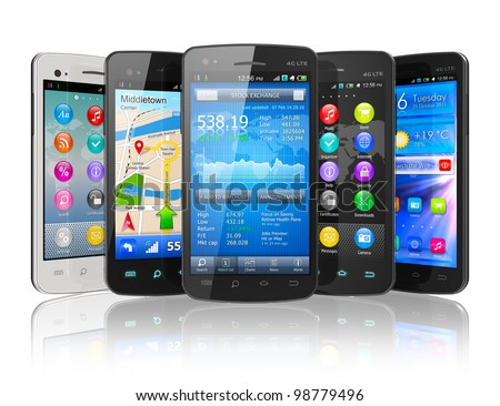 Set of touchscreen smartphones isolated on white reflective background - stock photo