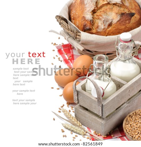 Set of traditional countryside breakfast isolated over white with copyspace - stock photo