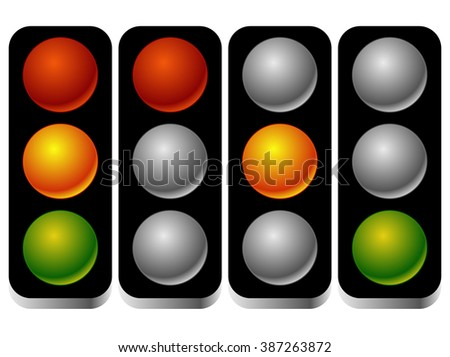 Set of traffic lights, traffic lamps in sequence