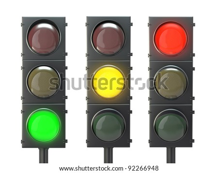 Set of traffic lights with red, yellow and green lights isolated on white background - stock photo