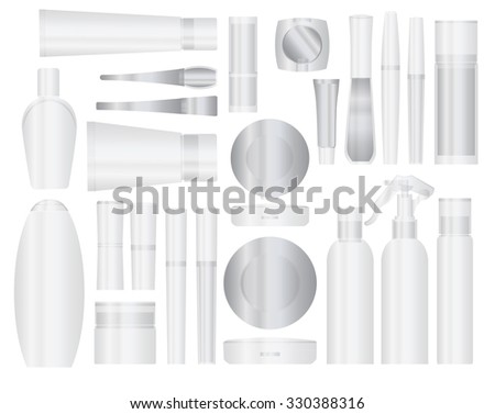 Set of transparent cosmetic packages samples for product design - stock photo