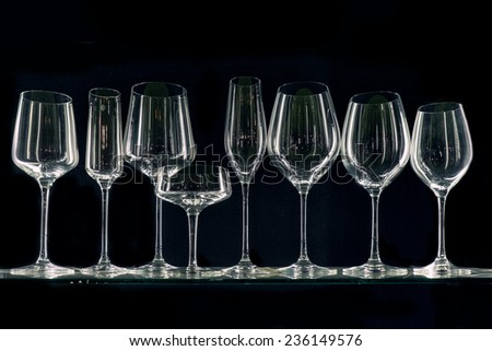 Set of transparent glasses goblets, cocktail glasses collection