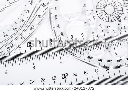 set of transparent rulers closeup - stock photo