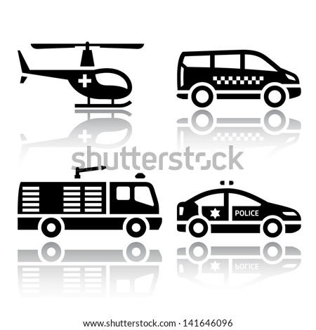 Set of transport icons - transport services, set silhouettes isolated on white background. - stock photo