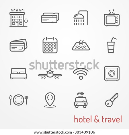 Set of travel and hotel icons, line style,  stock raster image, hotel and travel typical symbols - taxi, ticket, plane, restaurant, credit card