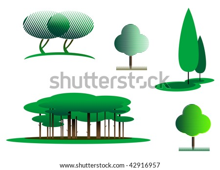 Set of tree symbols as a signs, logo or emblems of park or garden