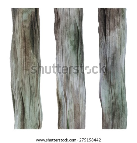 Set of 3 Tree Trunk textures painted in watercolor - stock photo