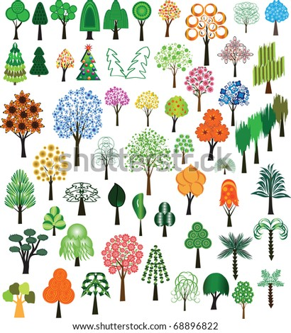 Set of  trees for design - stock photo
