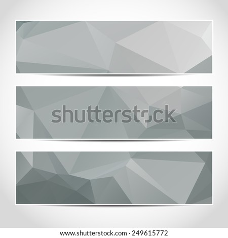 Set of trendy grey banners template or website headers with abstract geometric background. Design illustration - stock photo