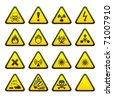 Set of Triangular Warning Hazard Signs - stock photo