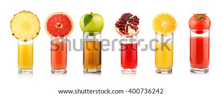 Set of tropical fruit juices in glasses isolated on white background - stock photo
