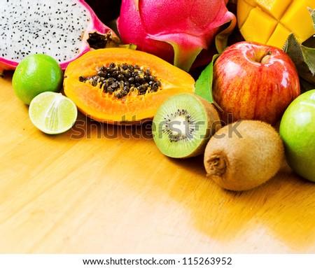 Set of tropical fruits. Shallow DOF. - stock photo