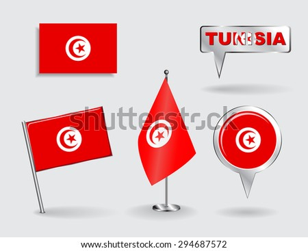 Set of Tunisian pin, icon and map pointer flags. Raster version - stock photo