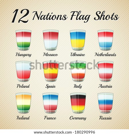 Set of twelve nations flag Shots - for celebration occasions like world cup football - stock photo