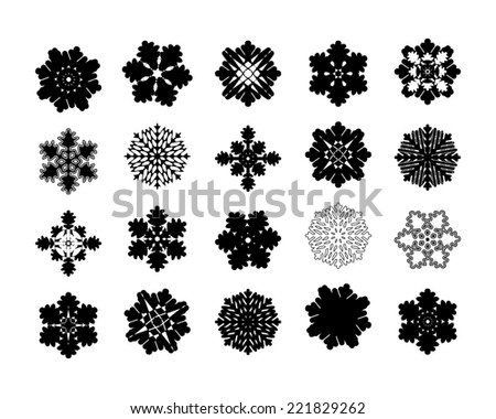 Set of twenty intricate geometric modern pattern snowflakes - stock photo