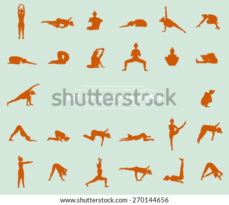 Set of twenty six yoga poses. Collection of asanas. Blue background and red girl silhouettes. - stock photo