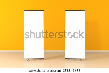 Set of two blank roll up posters - vertical billboard for text on yellow background - stock photo