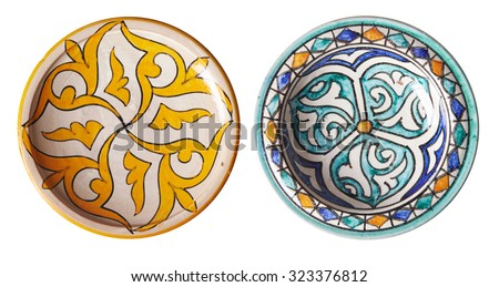 set of two bowls with traditional moroccan ornament. isolation on white background - stock photo