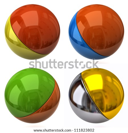 Set of two color balls - stock photo
