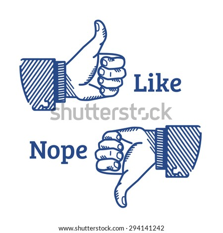 Set of two hands with thumb fingers up and down illustrated in retro style - stock photo