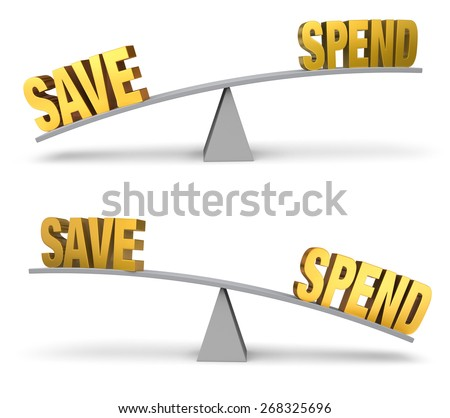 """Set of two images. In each, a gold """"SAVE"""" and """"SPEND"""" sit on opposite ends of a gray balance board.  In one image, """"SAVE"""" outweighs """"SPEND"""" in the other, """"SPEND"""" outweighs """"SAVE"""". Isolated on white. - stock photo"""