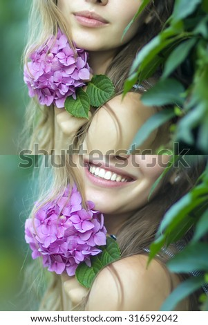 Set of two portraits of young beautiful woman with long blonde hair holding lush lilac flower near face on green leaves background showing different emotions, vertical picture - stock photo