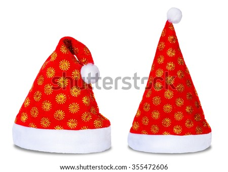 Set of two red Santa Claus hats isolated on white background - stock photo
