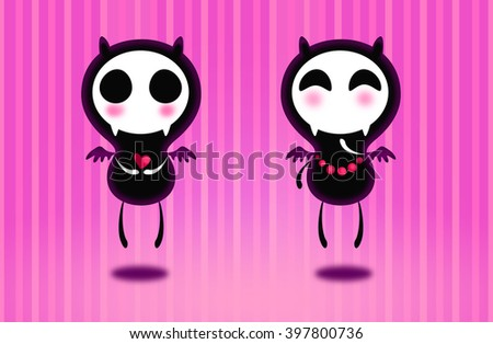 Set of two small monsters cartoon cute halloween creatures