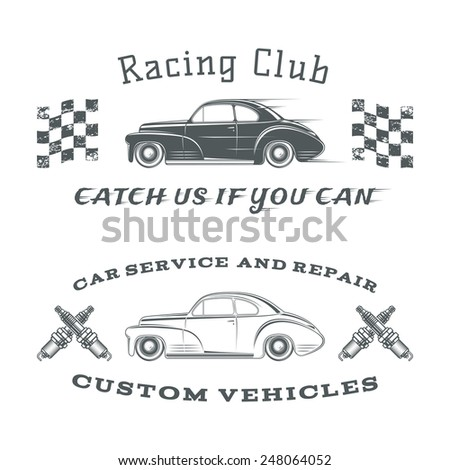 Set of two vintage, classic car labels, racing club and garage - stock photo