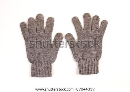 set of two winter gloves isolated on white - stock photo