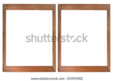 Set of two wooden photo frames isolated on white (with empty space for text, photo or picture) - stock photo