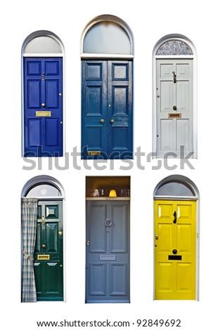 set of typical English doors - stock photo