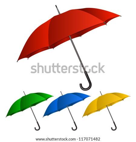 Set of umbrellas on white background. - stock photo
