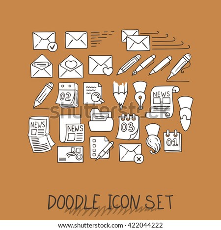 Set of Universal Doodle Icons. Variety of Topics. Letters, Calendars, News, Mail, Stationery. - stock photo