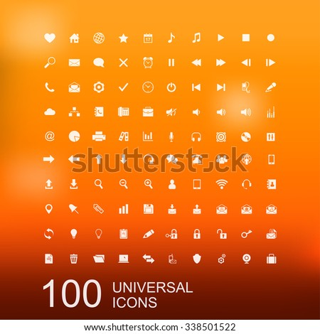 Set of 100 Universal Icons for Web and User Interface Design