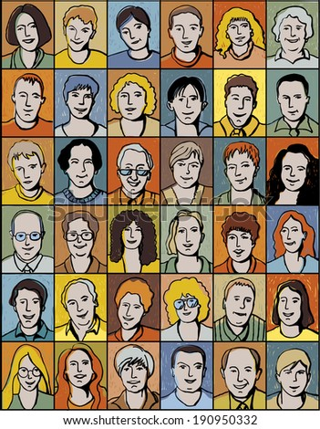 Set of unrecognizable people portrait. Color illustration. - stock photo