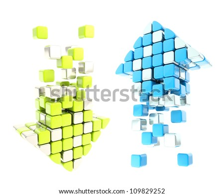 Set of up and down arrow icon emblems colored blue and green isolated on white background - stock photo