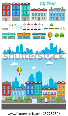 Set of urban city buildings and constructions to make a real street from - stock photo