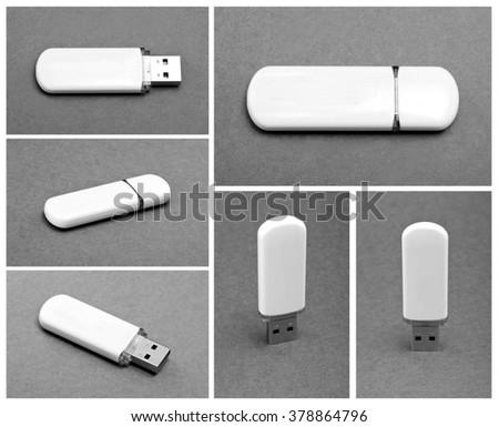 Set of usb stick memory on gray background - stock photo