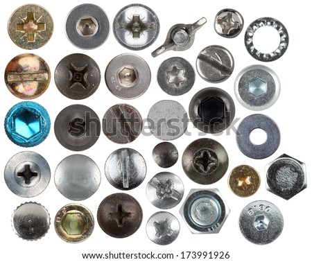 set of used old screw heads - stock photo
