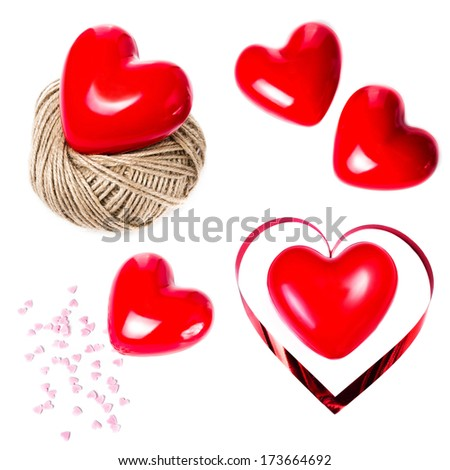 Set of Valentines Day  Red Hearts isolated on white background closeup. Collection of Love and Valentines day backgrounds. Holiday collage.