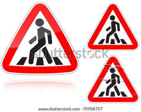 Set of variants a Approaching unregulated pedestrian crossing road sign isolated on white background. Group of as fish-eye, simple and grunge icons for your design. Raster illustration.